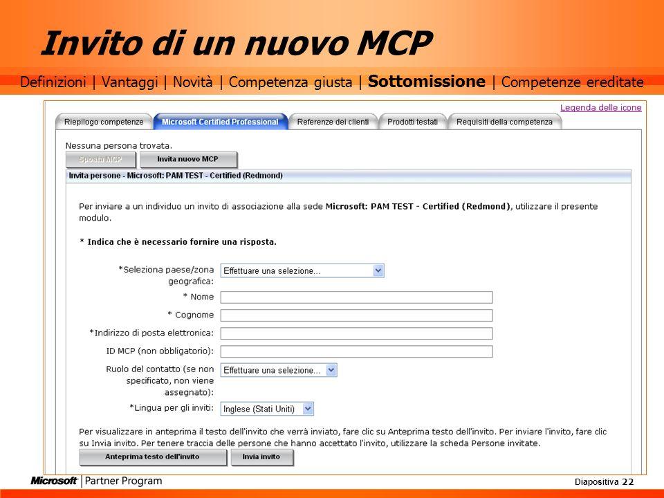 Diapositiva 22 Invito di un nuovo MCP Definizioni | Vantaggi | Novità | Competenza giusta | Sottomissione | Competenze ereditate