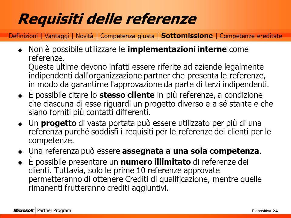 Diapositiva 24 Requisiti delle referenze Non è possibile utilizzare le implementazioni interne come referenze. Queste ultime devono infatti essere rif