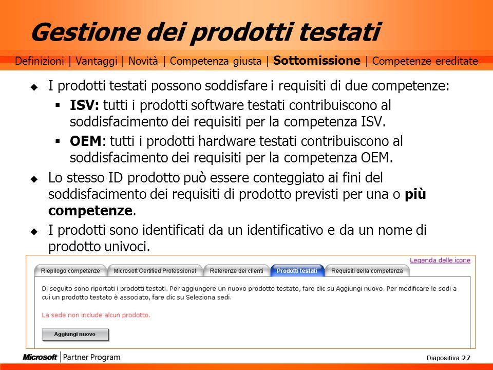 Diapositiva 27 Gestione dei prodotti testati I prodotti testati possono soddisfare i requisiti di due competenze: ISV: tutti i prodotti software testa