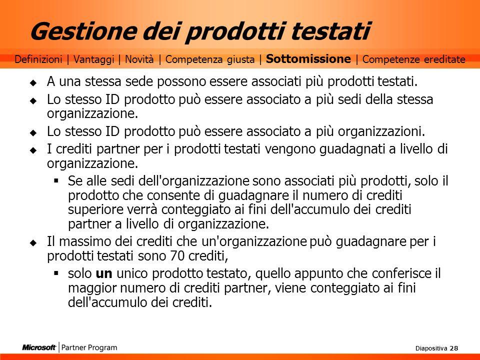 Diapositiva 28 A una stessa sede possono essere associati più prodotti testati. Lo stesso ID prodotto può essere associato a più sedi della stessa org