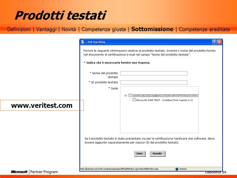 Diapositiva 29 Prodotti testati www.veritest.com Definizioni | Vantaggi | Novità | Competenza giusta | Sottomissione | Competenze ereditate