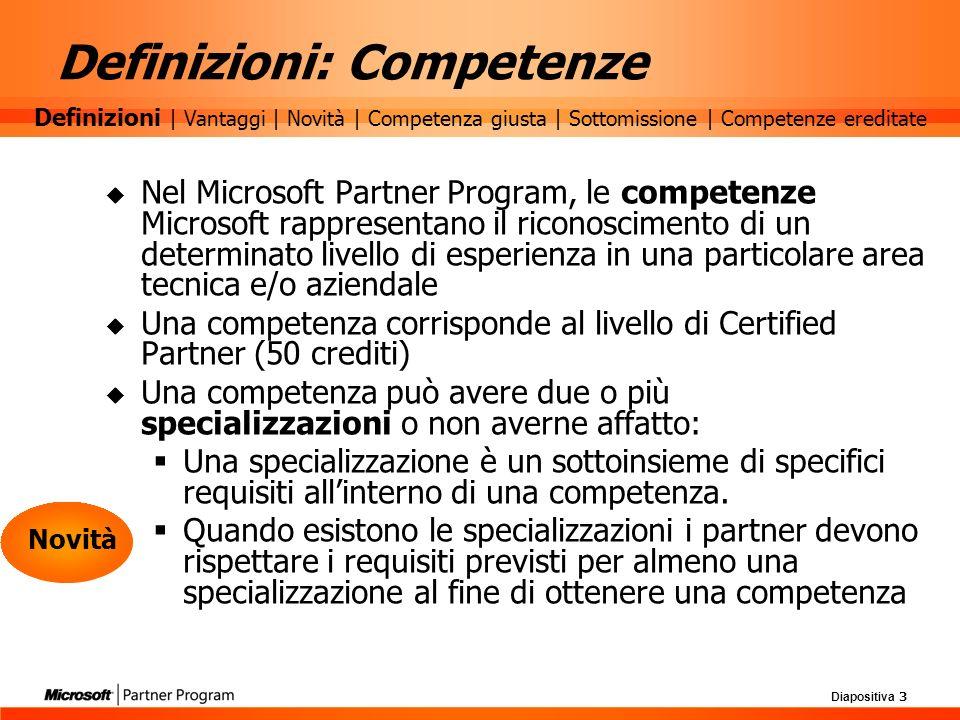 Diapositiva 3 Definizioni: Competenze Nel Microsoft Partner Program, le competenze Microsoft rappresentano il riconoscimento di un determinato livello