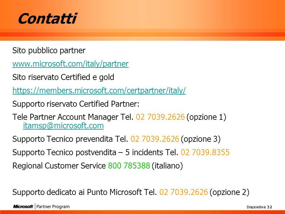 Diapositiva 32 Contatti Sito pubblico partner www.microsoft.com/italy/partner Sito riservato Certified e gold https://members.microsoft.com/certpartne