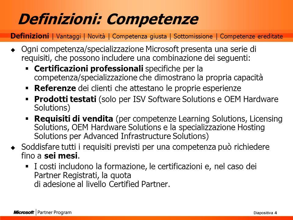 Diapositiva 4 Ogni competenza/specializzazione Microsoft presenta una serie di requisiti, che possono includere una combinazione dei seguenti: Certifi