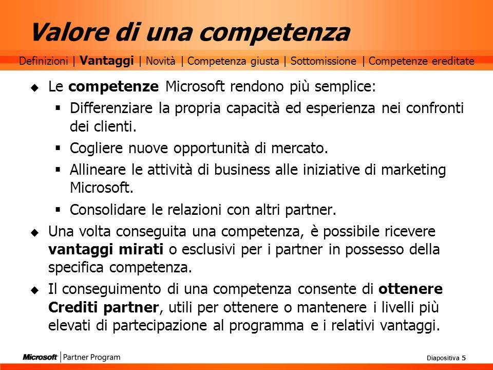 Diapositiva 5 Valore di una competenza Le competenze Microsoft rendono più semplice: Differenziare la propria capacità ed esperienza nei confronti dei