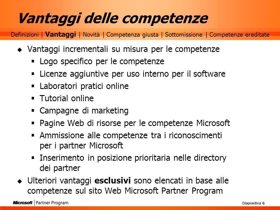Diapositiva 6 Vantaggi delle competenze Vantaggi incrementali su misura per le competenze Logo specifico per le competenze Licenze aggiuntive per uso