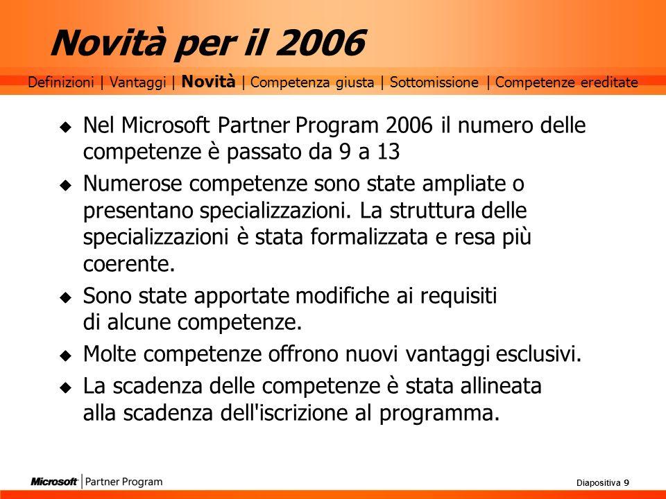 Diapositiva 9 Novità per il 2006 Nel Microsoft Partner Program 2006 il numero delle competenze è passato da 9 a 13 Numerose competenze sono state ampl