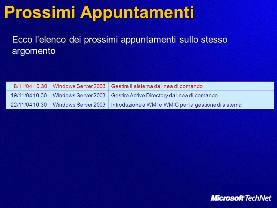 Prossimi Appuntamenti 8/11/04 10.30Windows Server 2003Gestire il sistema da linea di comando 19/11/04 10.30Windows Server 2003Gestire Active Directory