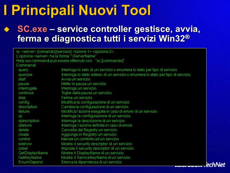 I Principali Nuovi Tool 6 Nuovi tool per la stampa - Prn*.vbs (Basati su WMI) 6 Nuovi tool per la stampa - Prn*.vbs (Basati su WMI) PrnMngr.vbs: aggiunge, cancella, elenca le connessioni alle stampanti PrnMngr.vbs: aggiunge, cancella, elenca le connessioni alle stampanti PrnPort.vbs: crea, cancella, elenca le porte standard TCP/IP PrnPort.vbs: crea, cancella, elenca le porte standard TCP/IP PrnCnfg.vbs: Configura e mostra la configurazione di una stampante PrnCnfg.vbs: Configura e mostra la configurazione di una stampante PrnQctl.vbs: stampa una pagina di prova, mette in pausa/riavvia, pulisce la coda di stampa PrnQctl.vbs: stampa una pagina di prova, mette in pausa/riavvia, pulisce la coda di stampa PrnDrvr.vbs: aggiunge, cancella, elenca i driver di stampa PrnDrvr.vbs: aggiunge, cancella, elenca i driver di stampa PrnJobs.vbs: elenca, mette in pausa, riprende, cancella i lavori di stampa PrnJobs.vbs: elenca, mette in pausa, riprende, cancella i lavori di stampa