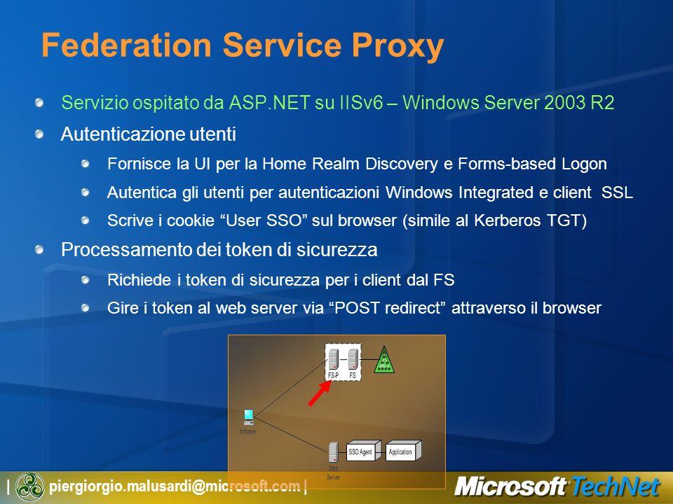 | piergiorgio.malusardi@microsoft.com | Federation Service Proxy Servizio ospitato da ASP.NET su IISv6 – Windows Server 2003 R2 Autenticazione utenti