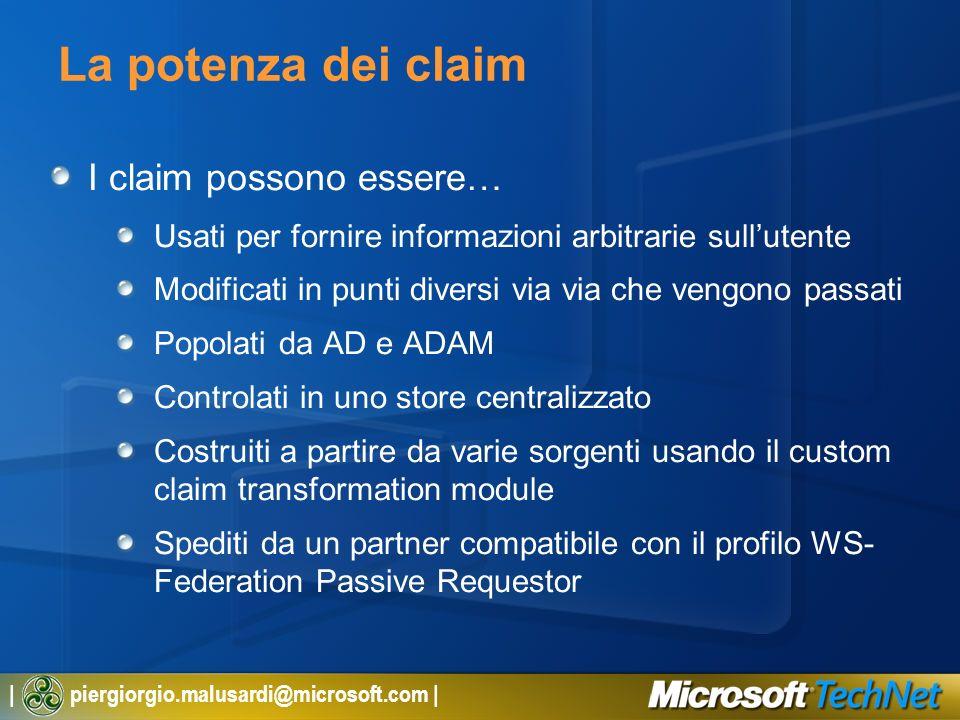 | piergiorgio.malusardi@microsoft.com | La potenza dei claim I claim possono essere… Usati per fornire informazioni arbitrarie sullutente Modificati i
