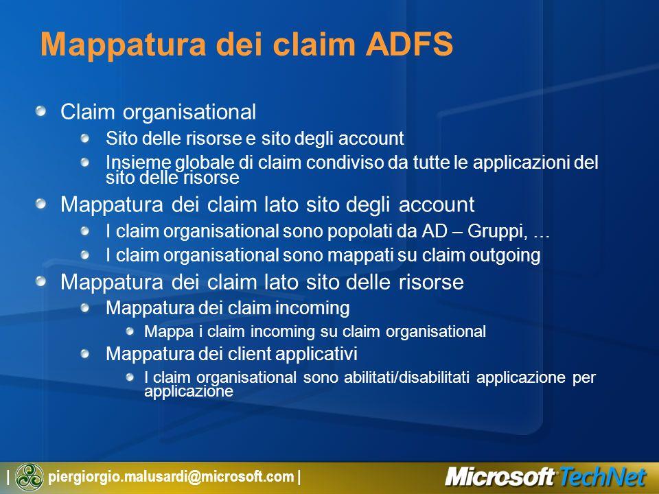 | piergiorgio.malusardi@microsoft.com | Mappatura dei claim ADFS Claim organisational Sito delle risorse e sito degli account Insieme globale di claim
