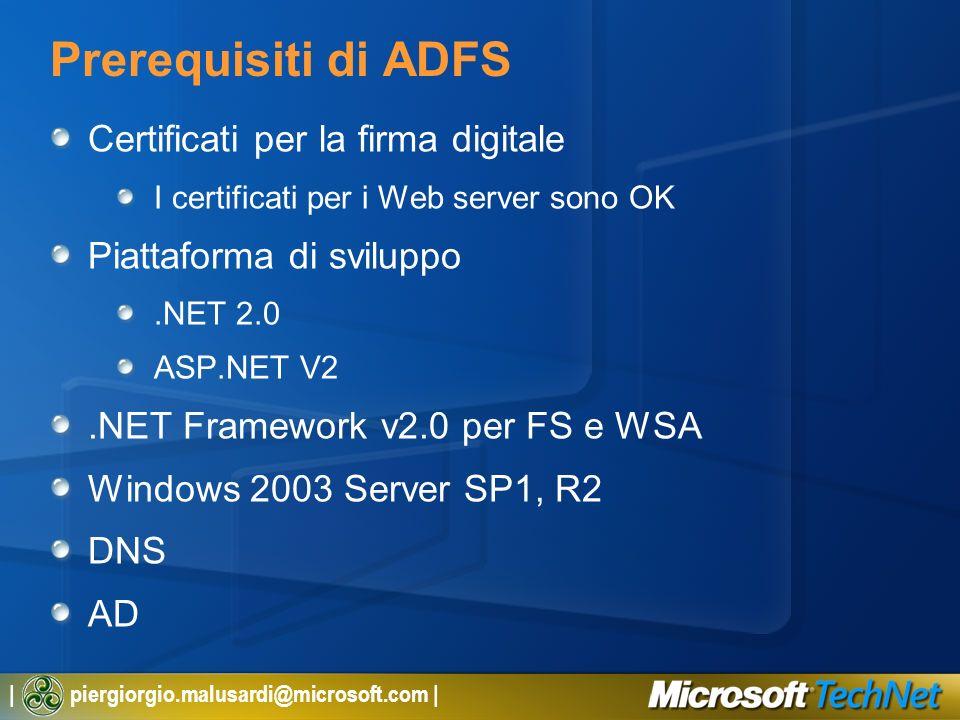 | piergiorgio.malusardi@microsoft.com | Prerequisiti di ADFS Certificati per la firma digitale I certificati per i Web server sono OK Piattaforma di s