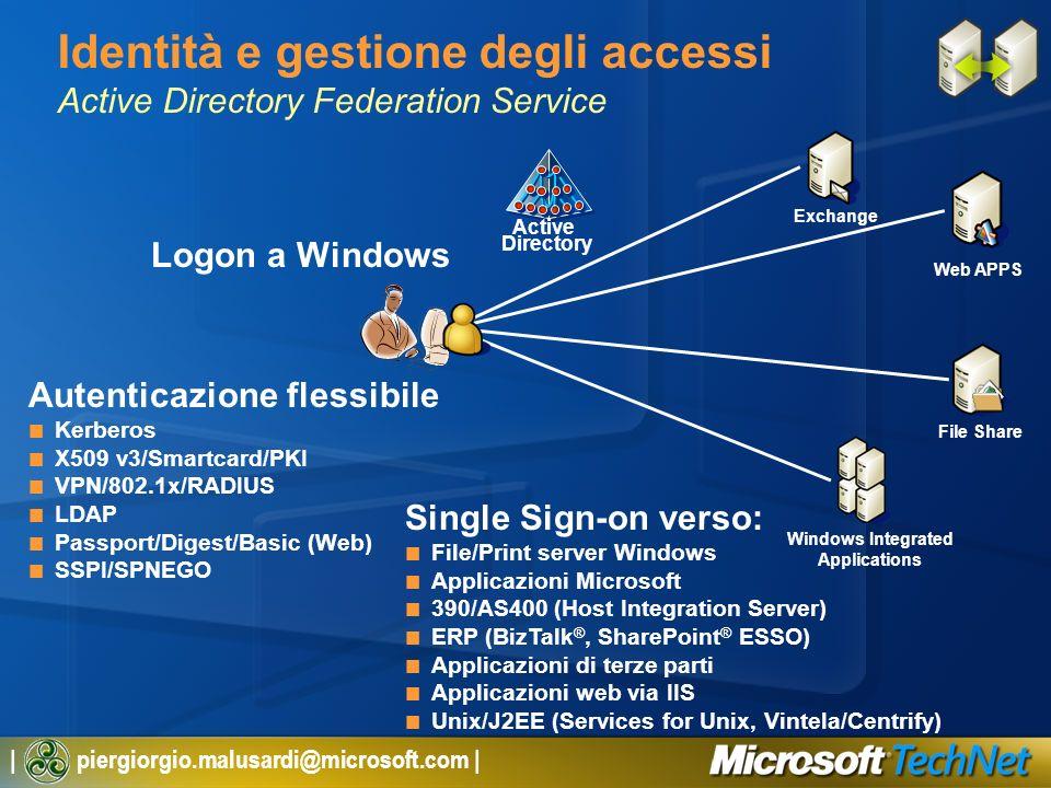| piergiorgio.malusardi@microsoft.com | Identità e gestione degli accessi Active Directory Federation Service Active Directory Logon a Windows Autenti