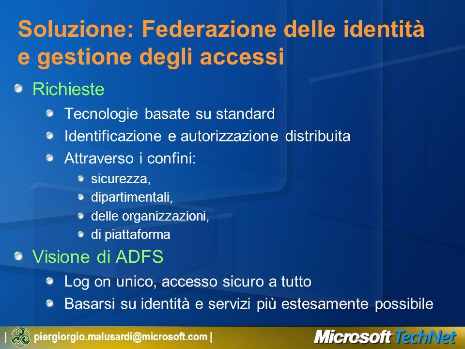 | piergiorgio.malusardi@microsoft.com | Soluzione: Federazione delle identità e gestione degli accessi Richieste Tecnologie basate su standard Identif