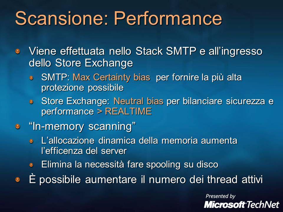 Scansione: Performance Viene effettuata nello Stack SMTP e allingresso dello Store Exchange SMTP: Max Certainty bias per fornire la più alta protezion