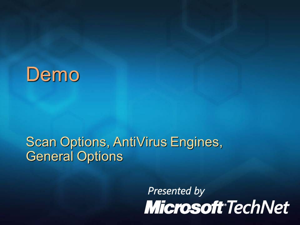 Demo Scan Options, AntiVirus Engines, General Options