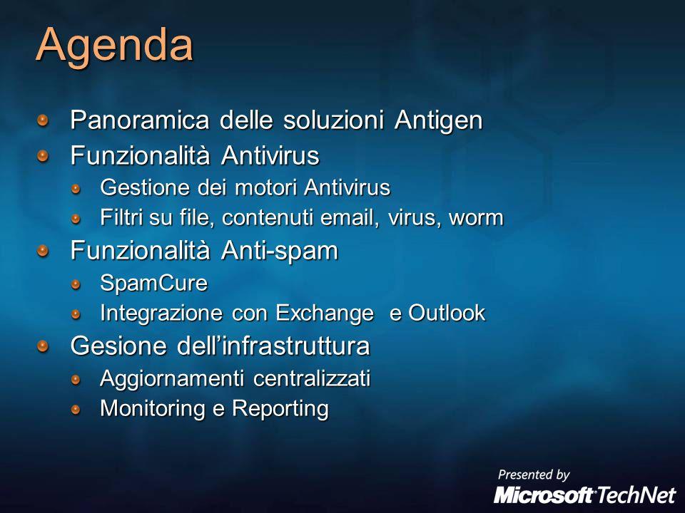 Agenda Panoramica delle soluzioni Antigen Funzionalità Antivirus Gestione dei motori Antivirus Filtri su file, contenuti email, virus, worm Funzionali