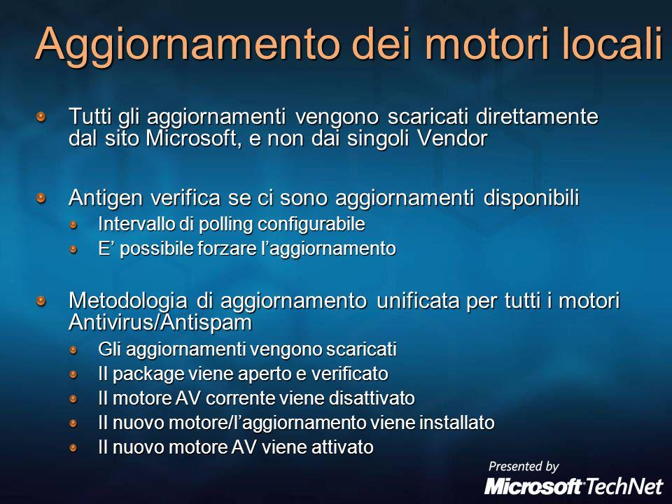 Aggiornamento dei motori locali Tutti gli aggiornamenti vengono scaricati direttamente dal sito Microsoft, e non dai singoli Vendor Antigen verifica s