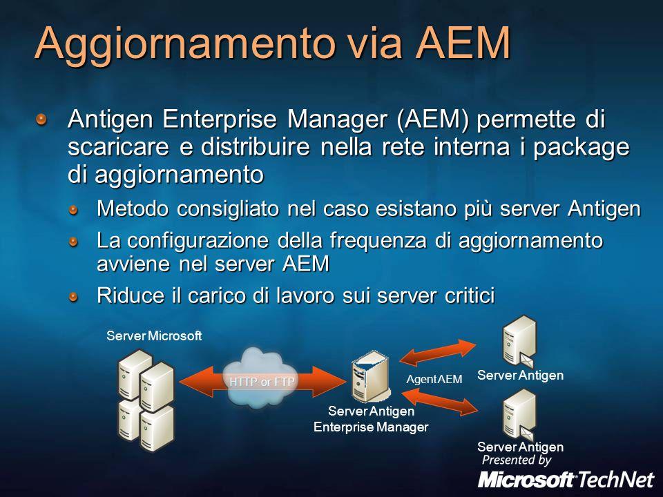 Aggiornamento via AEM Antigen Enterprise Manager (AEM) permette di scaricare e distribuire nella rete interna i package di aggiornamento Metodo consig
