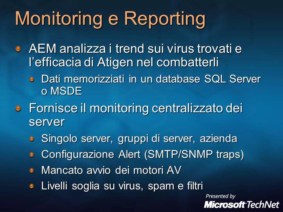 Monitoring e Reporting AEM analizza i trend sui virus trovati e lefficacia di Atigen nel combatterli Dati memorizziati in un database SQL Server o MSD