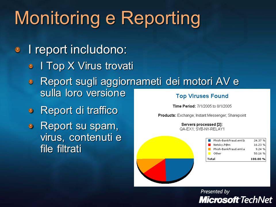 Monitoring e Reporting I report includono: I Top X Virus trovati Report sugli aggiornameti dei motori AV e sulla loro versione Report di traffico Report su spam, virus, contenuti e file filtrati