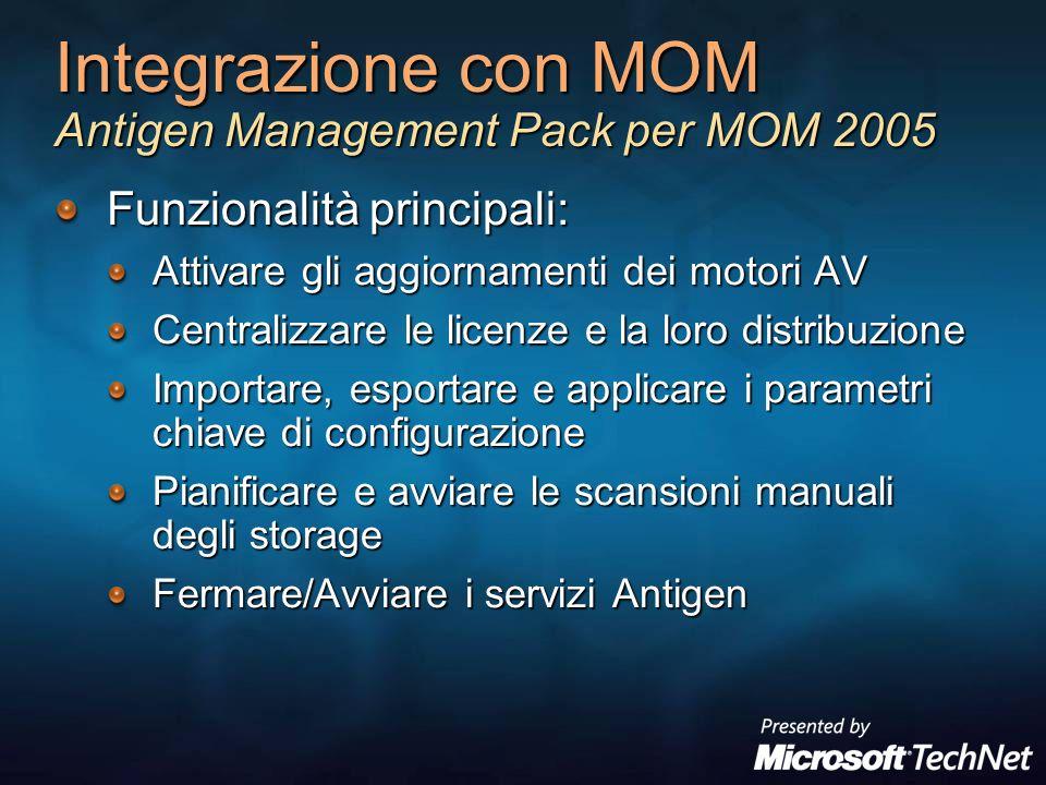 Integrazione con MOM Antigen Management Pack per MOM 2005 Funzionalità principali: Attivare gli aggiornamenti dei motori AV Centralizzare le licenze e