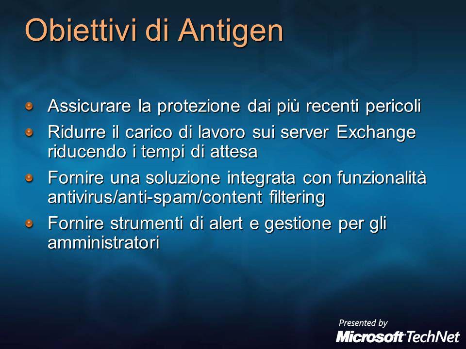 Obiettivi di Antigen Assicurare la protezione dai più recenti pericoli Ridurre il carico di lavoro sui server Exchange riducendo i tempi di attesa For