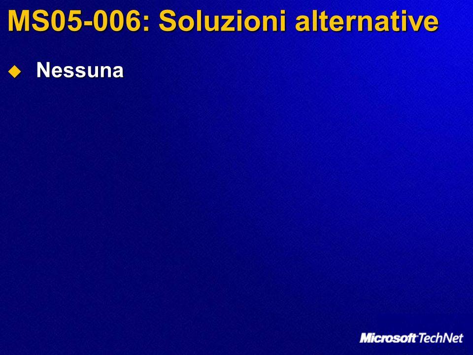 MS05-006: Soluzioni alternative Nessuna Nessuna