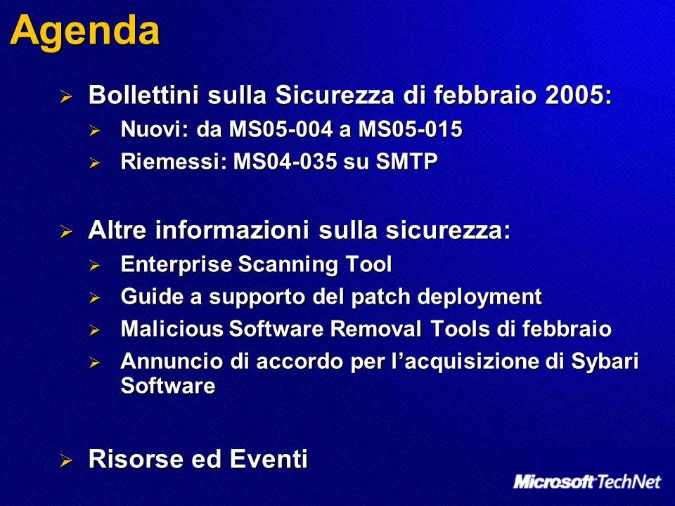 Agenda Bollettini sulla Sicurezza di febbraio 2005: Bollettini sulla Sicurezza di febbraio 2005: Nuovi: da MS05-004 a MS05-015 Nuovi: da MS05-004 a MS