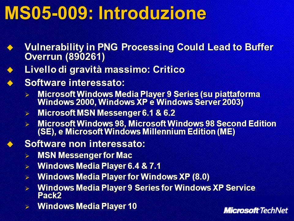 MS05-009: Introduzione Vulnerability in PNG Processing Could Lead to Buffer Overrun (890261) Vulnerability in PNG Processing Could Lead to Buffer Over