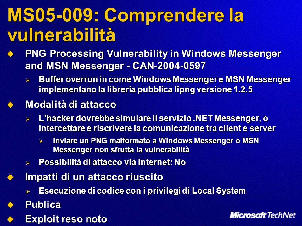 MS05-009: Comprendere la vulnerabilità PNG Processing Vulnerability in Windows Messenger and MSN Messenger - CAN-2004-0597 PNG Processing Vulnerabilit