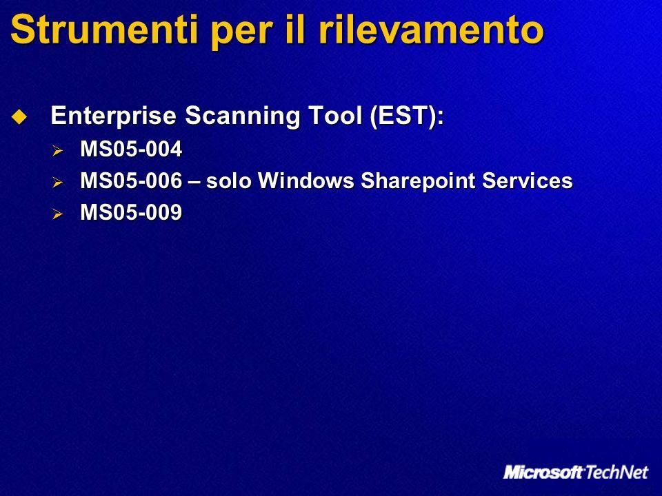 Strumenti per il rilevamento Enterprise Scanning Tool (EST): Enterprise Scanning Tool (EST): MS05-004 MS05-004 MS05-006 – solo Windows Sharepoint Services MS05-006 – solo Windows Sharepoint Services MS05-009 MS05-009