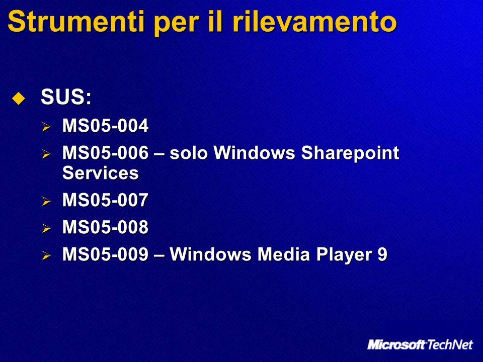 Strumenti per il rilevamento SUS: SUS: MS05-004 MS05-004 MS05-006 – solo Windows Sharepoint Services MS05-006 – solo Windows Sharepoint Services MS05-007 MS05-007 MS05-008 MS05-008 MS05-009 – Windows Media Player 9 MS05-009 – Windows Media Player 9