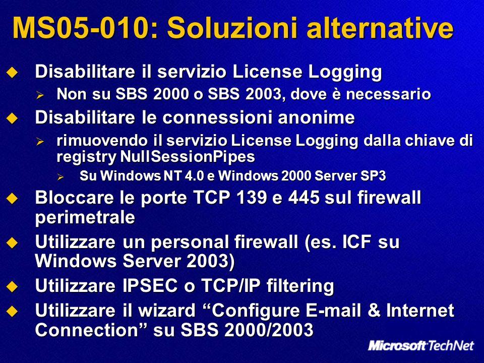MS05-010: Soluzioni alternative Disabilitare il servizio License Logging Disabilitare il servizio License Logging Non su SBS 2000 o SBS 2003, dove è necessario Non su SBS 2000 o SBS 2003, dove è necessario Disabilitare le connessioni anonime Disabilitare le connessioni anonime rimuovendo il servizio License Logging dalla chiave di registry NullSessionPipes rimuovendo il servizio License Logging dalla chiave di registry NullSessionPipes Su Windows NT 4.0 e Windows 2000 Server SP3 Su Windows NT 4.0 e Windows 2000 Server SP3 Bloccare le porte TCP 139 e 445 sul firewall perimetrale Bloccare le porte TCP 139 e 445 sul firewall perimetrale Utilizzare un personal firewall (es.