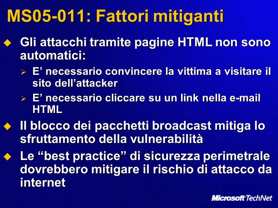 MS05-011: Fattori mitiganti Gli attacchi tramite pagine HTML non sono automatici: Gli attacchi tramite pagine HTML non sono automatici: E necessario c