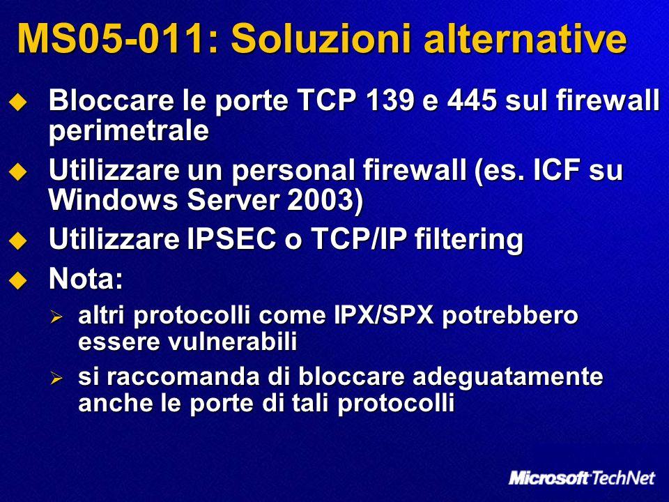 MS05-011: Soluzioni alternative Bloccare le porte TCP 139 e 445 sul firewall perimetrale Bloccare le porte TCP 139 e 445 sul firewall perimetrale Utilizzare un personal firewall (es.