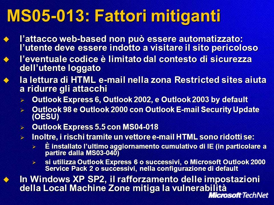 MS05-013: Fattori mitiganti lattacco web-based non può essere automatizzato: lutente deve essere indotto a visitare il sito pericoloso lattacco web-ba