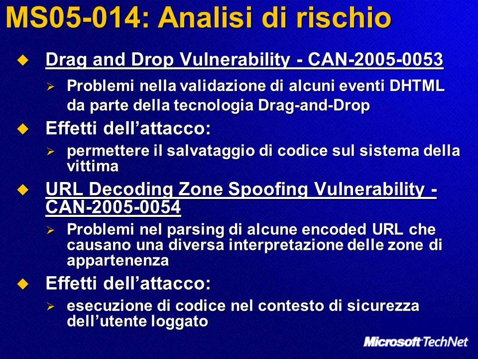 MS05-014: Analisi di rischio Drag and Drop Vulnerability - CAN-2005-0053 Drag and Drop Vulnerability - CAN-2005-0053 Problemi nella validazione di alcuni eventi DHTML da parte della tecnologia Drag-and-Drop Problemi nella validazione di alcuni eventi DHTML da parte della tecnologia Drag-and-Drop Effetti dellattacco: Effetti dellattacco: permettere il salvataggio di codice sul sistema della vittima permettere il salvataggio di codice sul sistema della vittima URL Decoding Zone Spoofing Vulnerability - CAN-2005-0054 URL Decoding Zone Spoofing Vulnerability - CAN-2005-0054 Problemi nel parsing di alcune encoded URL che causano una diversa interpretazione delle zone di appartenenza Problemi nel parsing di alcune encoded URL che causano una diversa interpretazione delle zone di appartenenza Effetti dellattacco: Effetti dellattacco: esecuzione di codice nel contesto di sicurezza dellutente loggato esecuzione di codice nel contesto di sicurezza dellutente loggato
