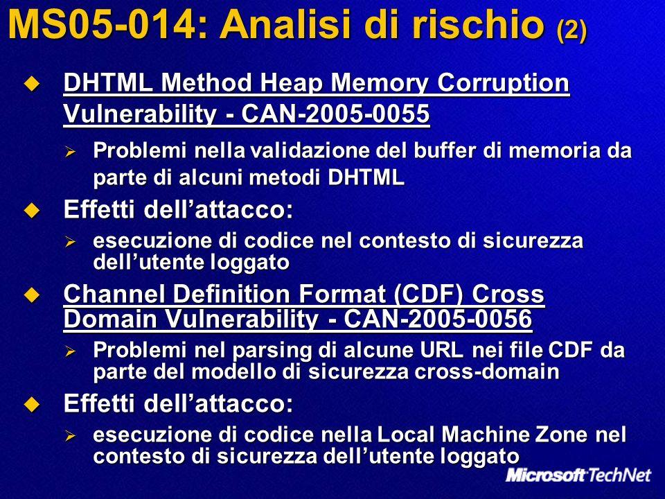 MS05-014: Analisi di rischio (2) DHTML Method Heap Memory Corruption Vulnerability - CAN-2005-0055 DHTML Method Heap Memory Corruption Vulnerability - CAN-2005-0055 Problemi nella validazione del buffer di memoria da parte di alcuni metodi DHTML Problemi nella validazione del buffer di memoria da parte di alcuni metodi DHTML Effetti dellattacco: Effetti dellattacco: esecuzione di codice nel contesto di sicurezza dellutente loggato esecuzione di codice nel contesto di sicurezza dellutente loggato Channel Definition Format (CDF) Cross Domain Vulnerability - CAN-2005-0056 Channel Definition Format (CDF) Cross Domain Vulnerability - CAN-2005-0056 Problemi nel parsing di alcune URL nei file CDF da parte del modello di sicurezza cross-domain Problemi nel parsing di alcune URL nei file CDF da parte del modello di sicurezza cross-domain Effetti dellattacco: Effetti dellattacco: esecuzione di codice nella Local Machine Zone nel contesto di sicurezza dellutente loggato esecuzione di codice nella Local Machine Zone nel contesto di sicurezza dellutente loggato