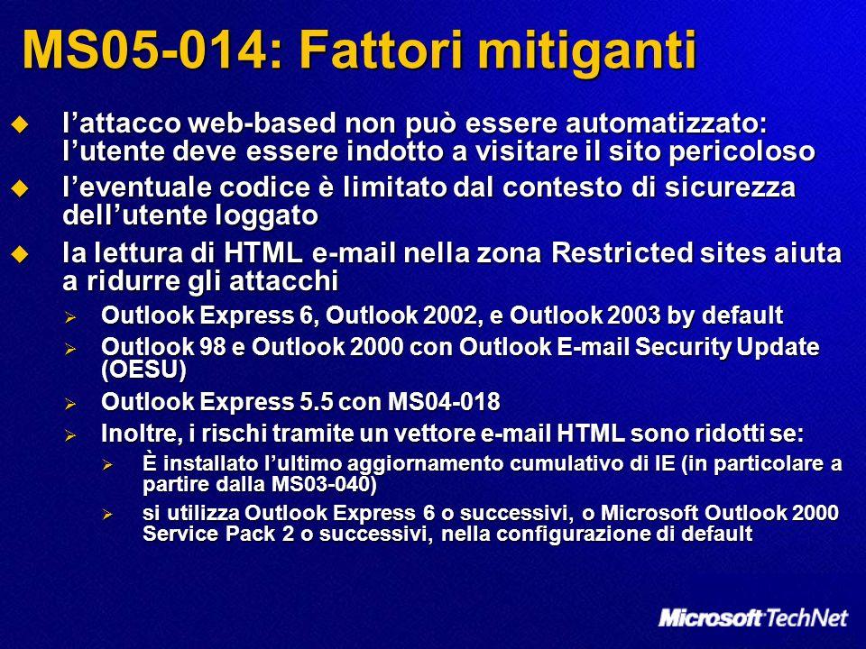 MS05-014: Fattori mitiganti lattacco web-based non può essere automatizzato: lutente deve essere indotto a visitare il sito pericoloso lattacco web-ba