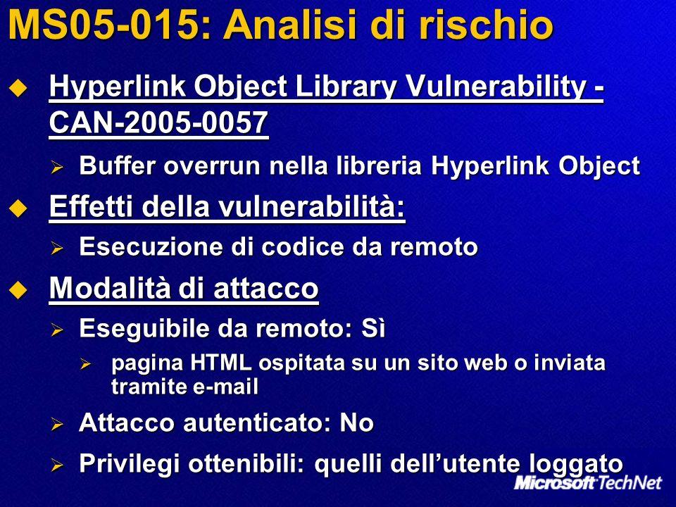 MS05-015: Analisi di rischio Hyperlink Object Library Vulnerability - CAN-2005-0057 Hyperlink Object Library Vulnerability - CAN-2005-0057 Buffer overrun nella libreria Hyperlink Object Buffer overrun nella libreria Hyperlink Object Effetti della vulnerabilità: Effetti della vulnerabilità: Esecuzione di codice da remoto Esecuzione di codice da remoto Modalità di attacco Modalità di attacco Eseguibile da remoto: Sì Eseguibile da remoto: Sì pagina HTML ospitata su un sito web o inviata tramite e-mail pagina HTML ospitata su un sito web o inviata tramite e-mail Attacco autenticato: No Attacco autenticato: No Privilegi ottenibili: quelli dellutente loggato Privilegi ottenibili: quelli dellutente loggato
