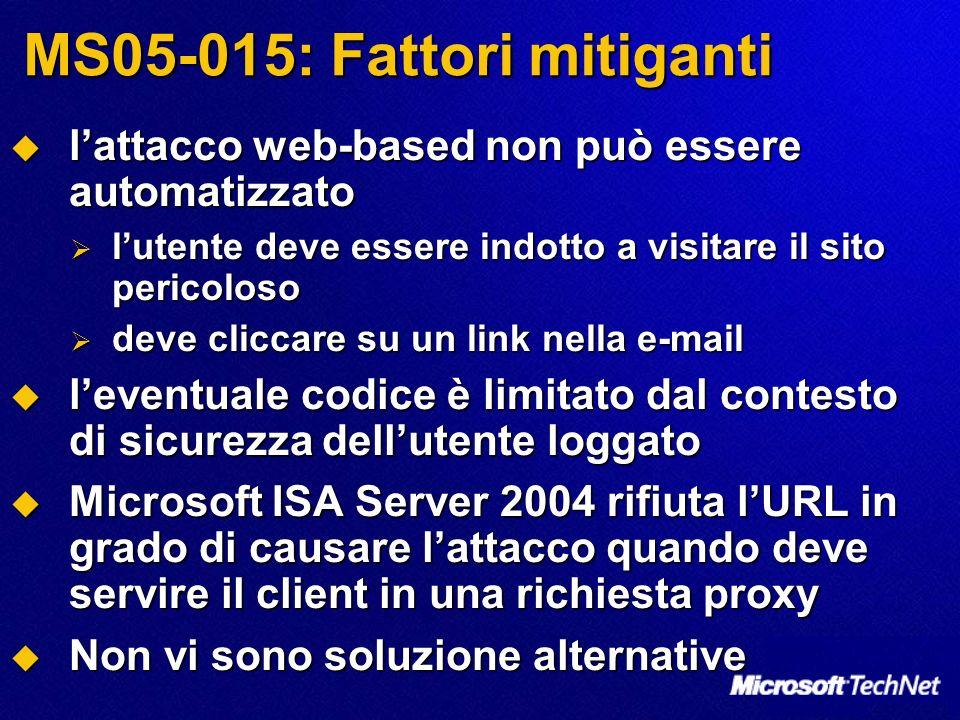MS05-015: Fattori mitiganti lattacco web-based non può essere automatizzato lattacco web-based non può essere automatizzato lutente deve essere indott