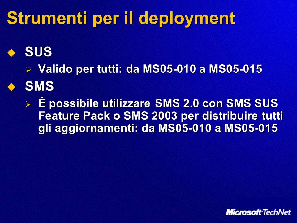 Strumenti per il deployment SUS SUS Valido per tutti: da MS05-010 a MS05-015 Valido per tutti: da MS05-010 a MS05-015 SMS SMS É possibile utilizzare SMS 2.0 con SMS SUS Feature Pack o SMS 2003 per distribuire tutti gli aggiornamenti: da MS05-010 a MS05-015 É possibile utilizzare SMS 2.0 con SMS SUS Feature Pack o SMS 2003 per distribuire tutti gli aggiornamenti: da MS05-010 a MS05-015