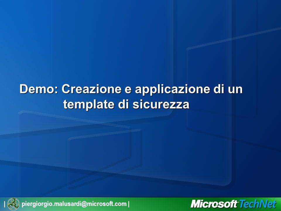 | piergiorgio.malusardi@microsoft.com | Demo: Creazione e applicazione di un template di sicurezza