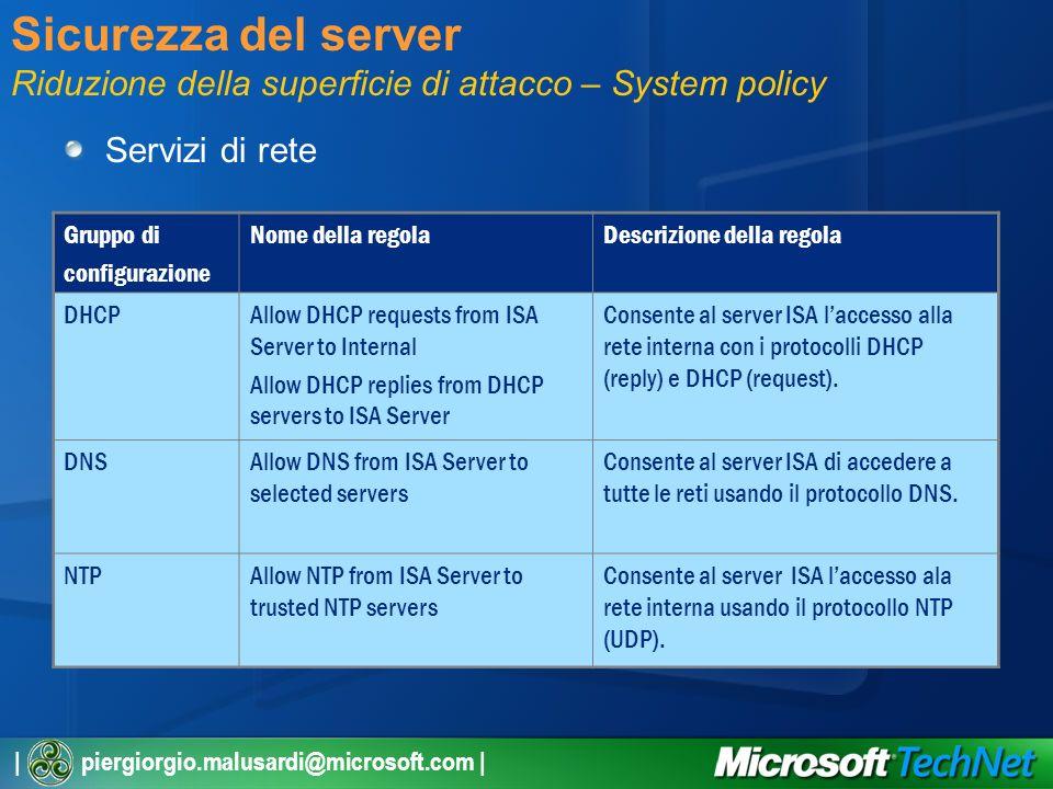 | piergiorgio.malusardi@microsoft.com | Sicurezza del server Riduzione della superficie di attacco – System policy Servizi di rete Gruppo di configurazione Nome della regolaDescrizione della regola DHCPAllow DHCP requests from ISA Server to Internal Allow DHCP replies from DHCP servers to ISA Server Consente al server ISA laccesso alla rete interna con i protocolli DHCP (reply) e DHCP (request).