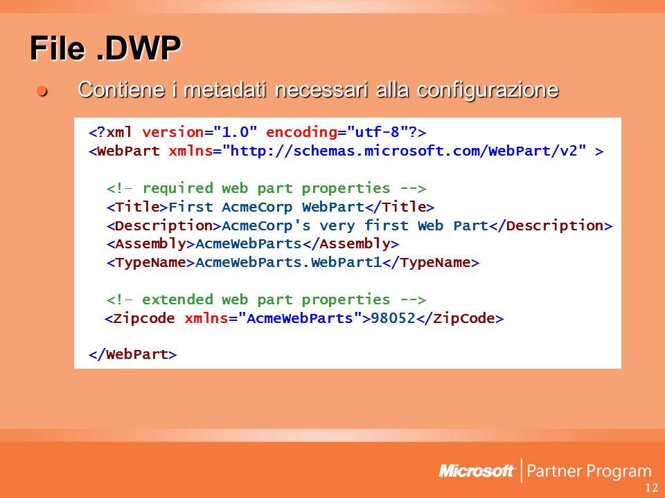 12 File.DWP Contiene i metadati necessari alla configurazione Contiene i metadati necessari alla configurazione First AcmeCorp WebPart AcmeCorp s very first Web Part AcmeWebParts AcmeWebParts.WebPart1 98052