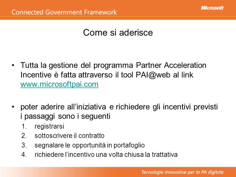 Come si aderisce Tutta la gestione del programma Partner Acceleration Incentive è fatta attraverso il tool PAI@web al link www.microsoftpai.com www.mi