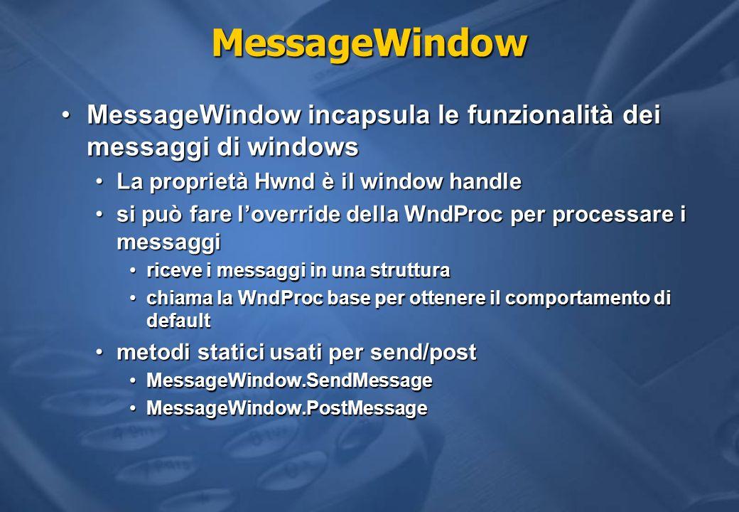 MessageWindow MessageWindow incapsula le funzionalità dei messaggi di windowsMessageWindow incapsula le funzionalità dei messaggi di windows La propri