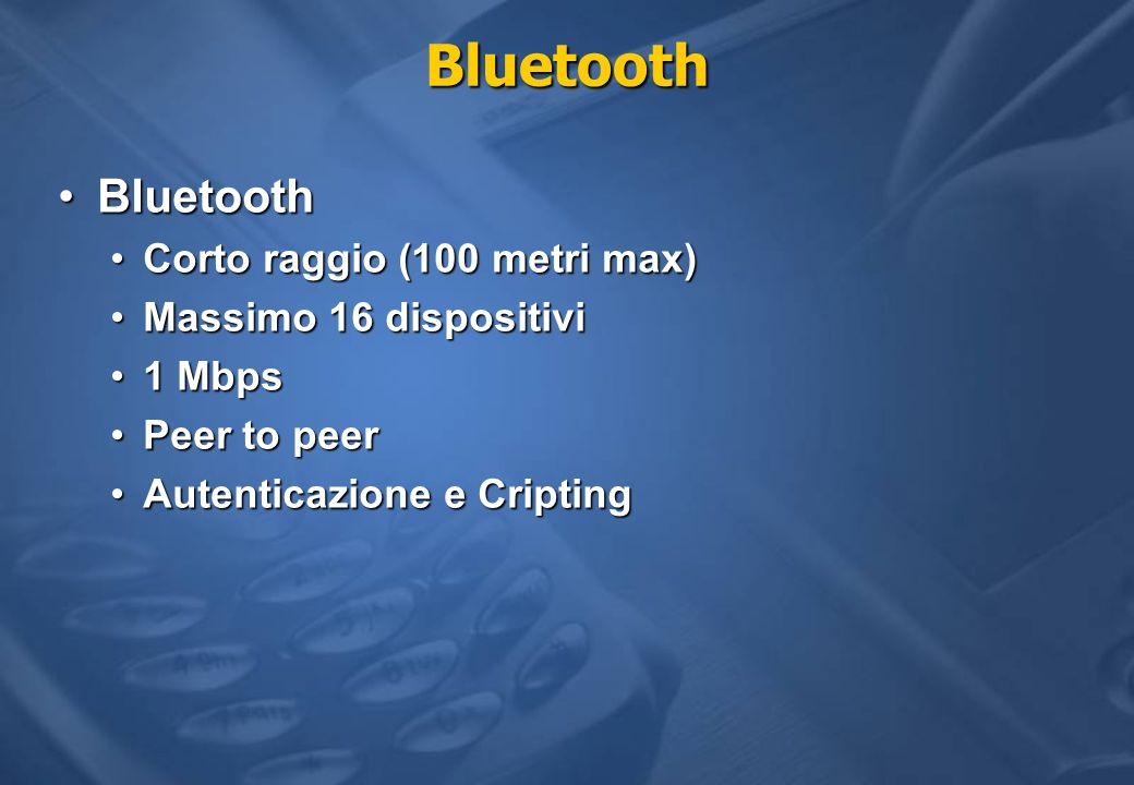 Bluetooth BluetoothBluetooth Corto raggio (100 metri max)Corto raggio (100 metri max) Massimo 16 dispositiviMassimo 16 dispositivi 1 Mbps1 Mbps Peer t